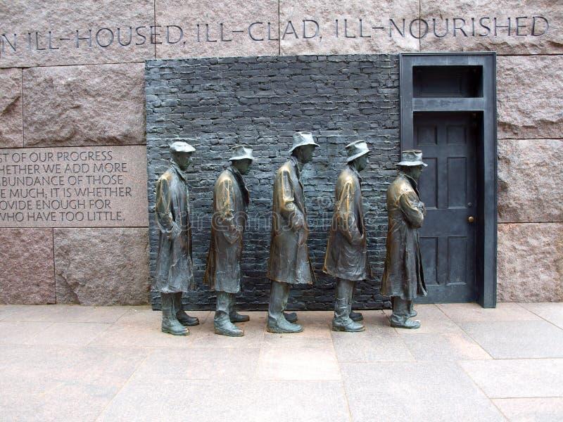 Мемориал FDR - очередь за безплатным питанием стоковое фото