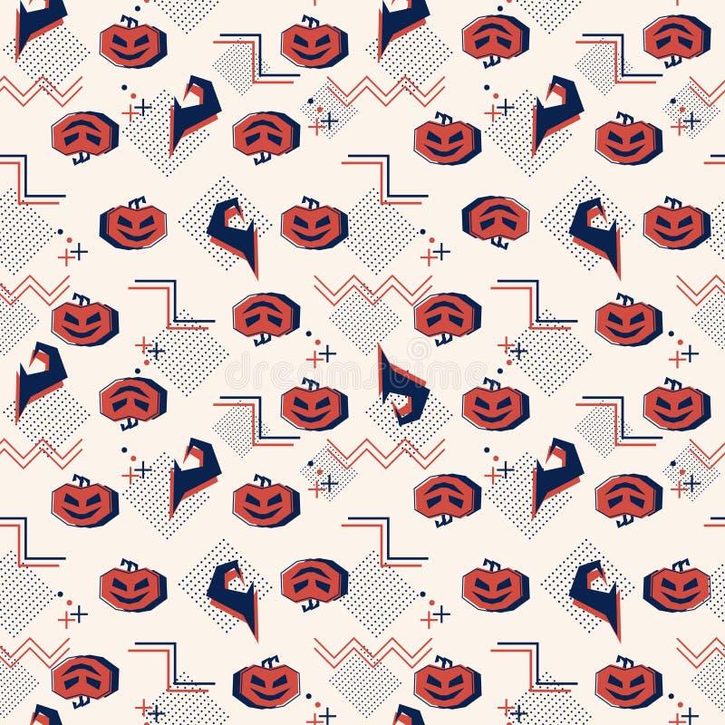 Мемфис хеллоуин с тыквами и картиной шляпы ведьмы безшовной Тема призрака предпосылки абстрактная для детей и prin моды младенца иллюстрация штока