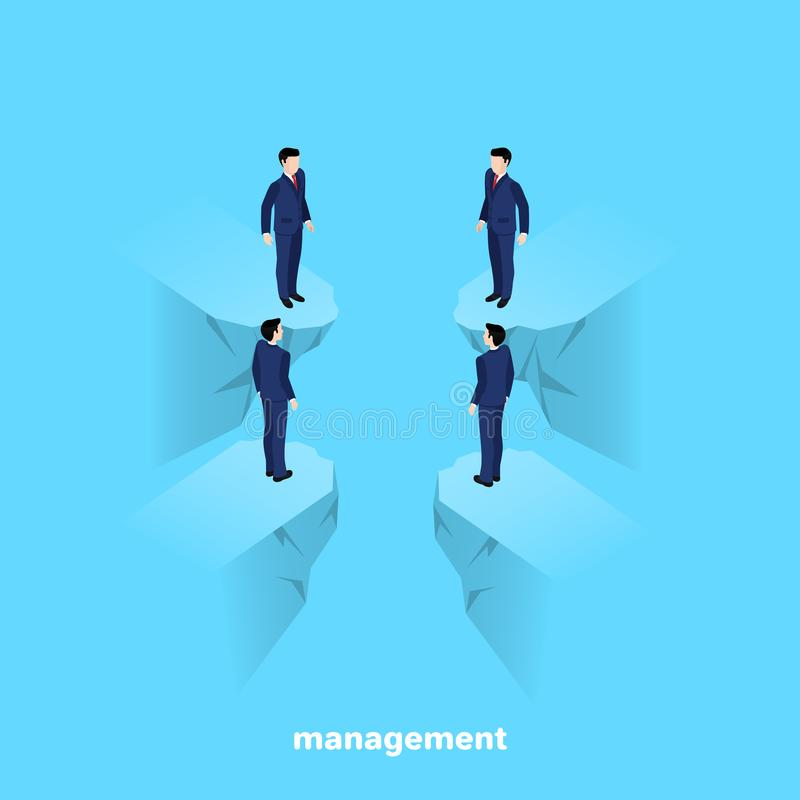 Менеджеры в деловых костюмах на голубой предпосылке иллюстрация вектора
