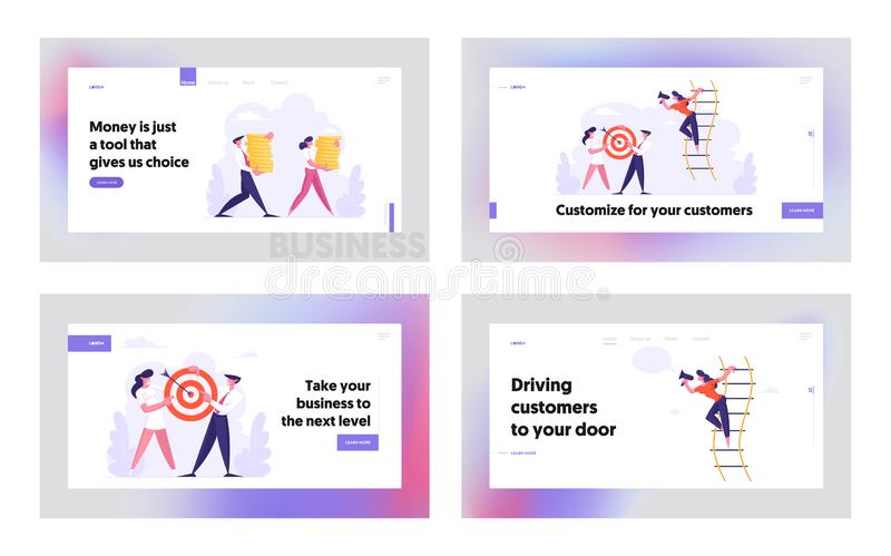 Менеджеры Office People Lifestyle, Website - набор страниц, Business People Shoot Target, Carry Money Stacks бесплатная иллюстрация