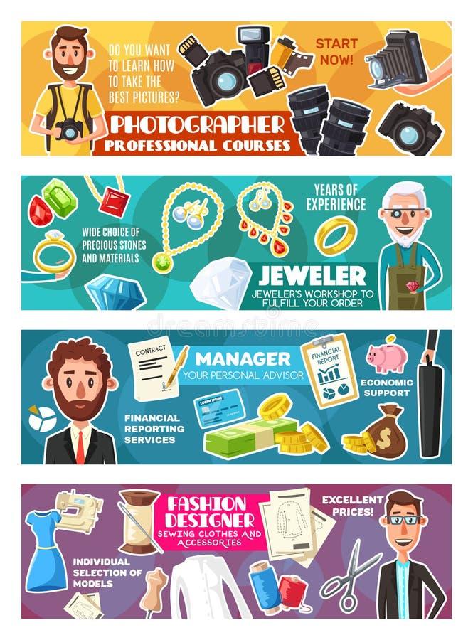 Менеджер, фотограф, модельер, ювелир бесплатная иллюстрация