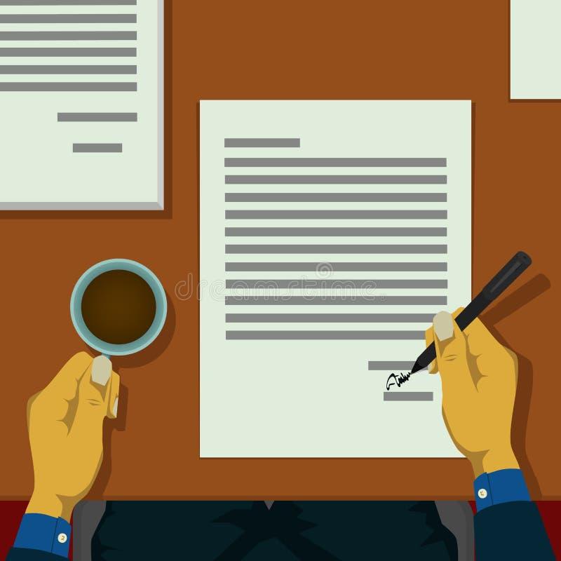 Менеджер письма подписал много контрактов иллюстрация вектора