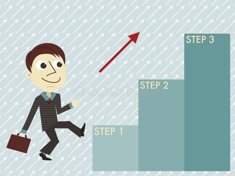 Менеджер с шаблоном 3 шагов infographic иллюстрация вектора