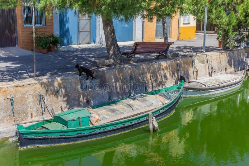 Меньшая зеленая рыбацкая лодка в каналах El Palmar стоковые фото