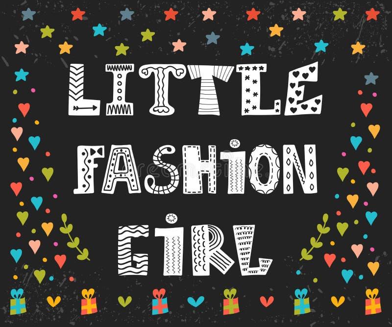 Меньшая карточка девушки моды Милый график для детей Смешная открытка иллюстрация штока