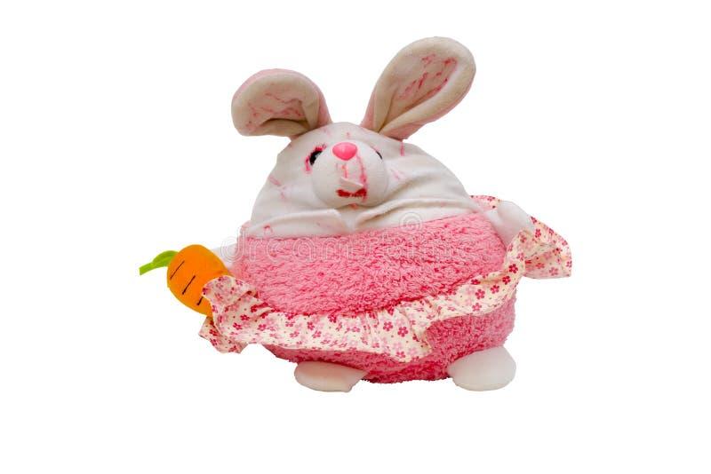 Меньшая кукла зайчика изолированная на белой предпосылке, этом имеет клиппирование стоковая фотография rf