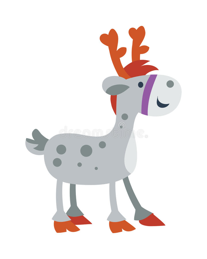 Меньшая лошадь игрушки изолированная на белизне милые олени иллюстрация вектора