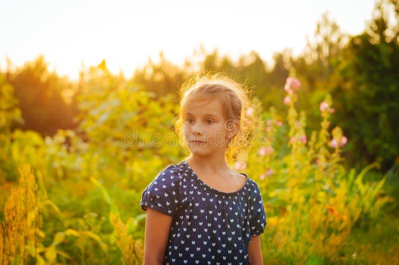меньшая прелестная девушка в поле на заходе солнца распространила ее оружия, наслаждаясь стоковые фотографии rf