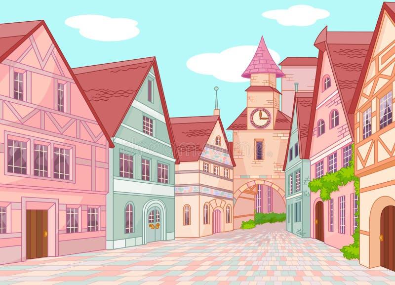 Меньшая улица городка Европы иллюстрация вектора
