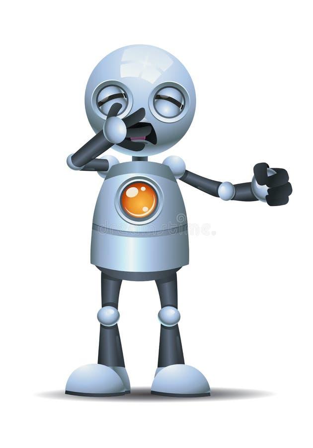 Меньшая эмоция робота в зевке иллюстрация вектора