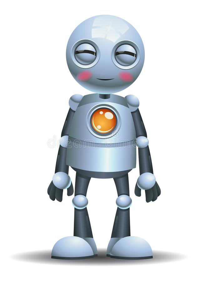 Меньшая эмоция робота усмехаясь на изолированной белой предпосылке иллюстрация вектора