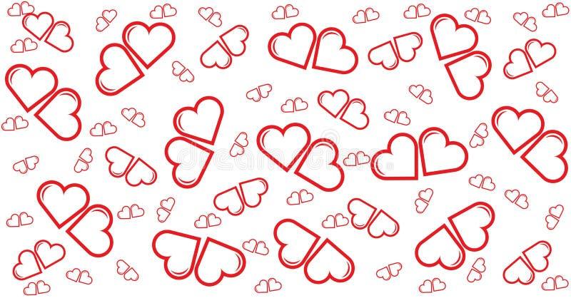 Меньшее сердце пар красное, карточка, картина, шаблон для счастья иллюстрация вектора