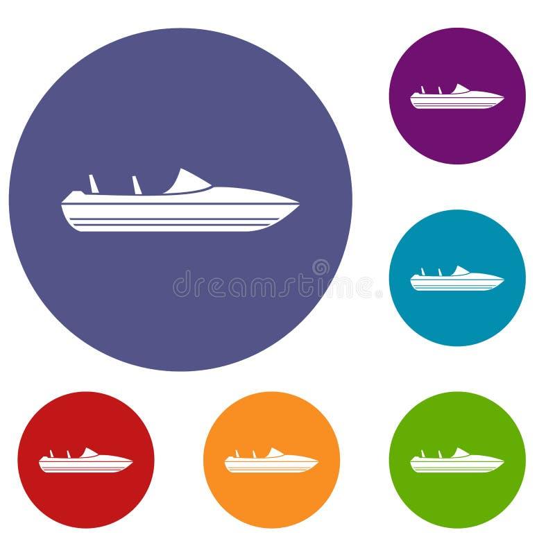 Меньшие установленные значки powerboat иллюстрация штока
