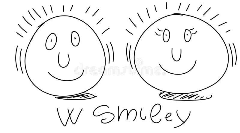 Меньшие чертежи юмориста стиля комика smiley стилизованные иллюстрация вектора
