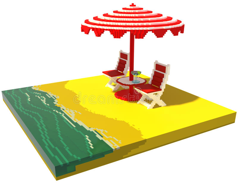Меньший ландшафт пляжа - искусство voxel 3d иллюстрация штока