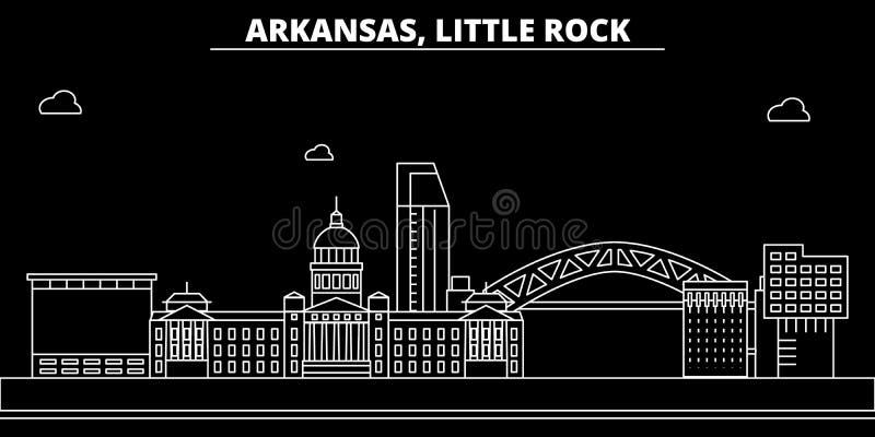 Меньший горизонт силуэта утеса США - Меньший город вектора утеса, американская линейная архитектура, здания меньший утес иллюстрация штока
