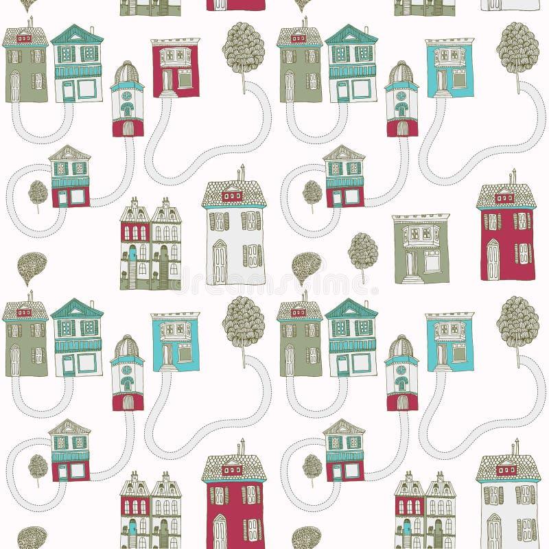 Меньший городок в зиме. иллюстрация вектора