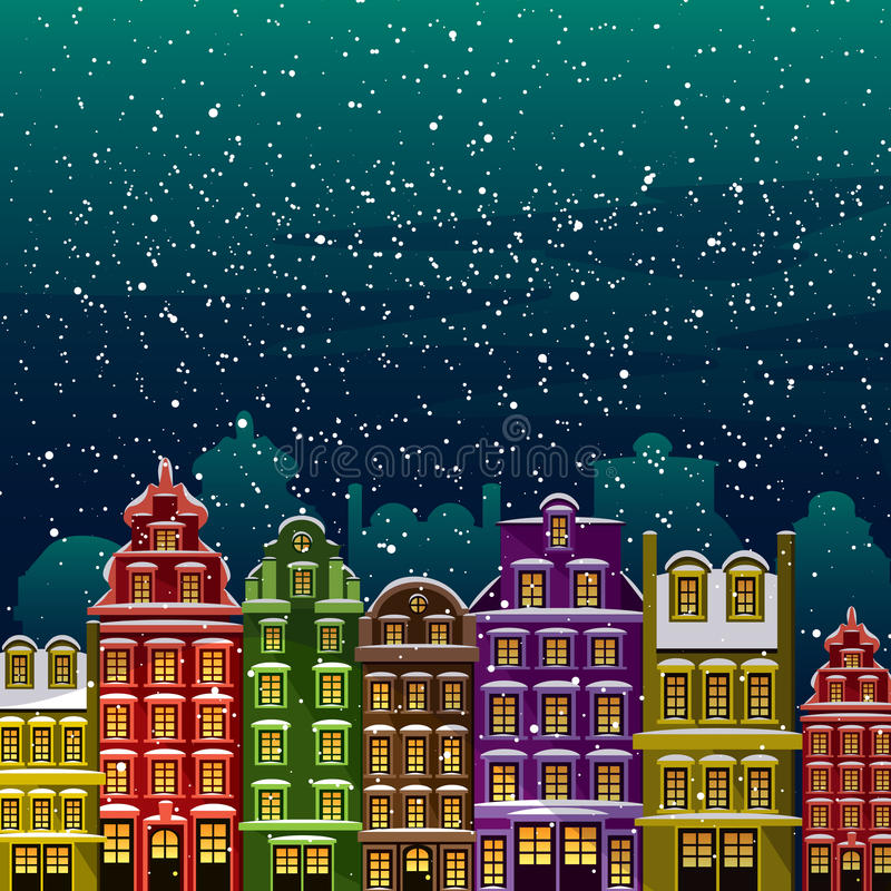 Меньший городок под снегом Старые дома на ноче в Рожденственской ночи Vector проиллюстрированная поздравительная открытка, открыт иллюстрация вектора