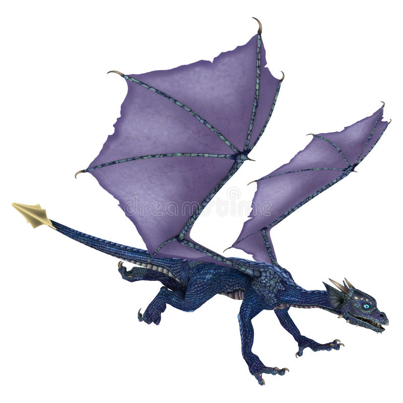 Меньший голубой дракон иллюстрация вектора