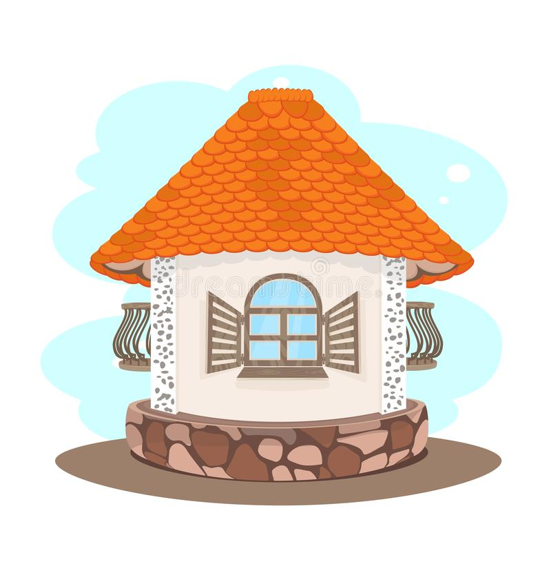 Меньший дом с оранжевой крыть черепицей черепицей крышей иллюстрация штока