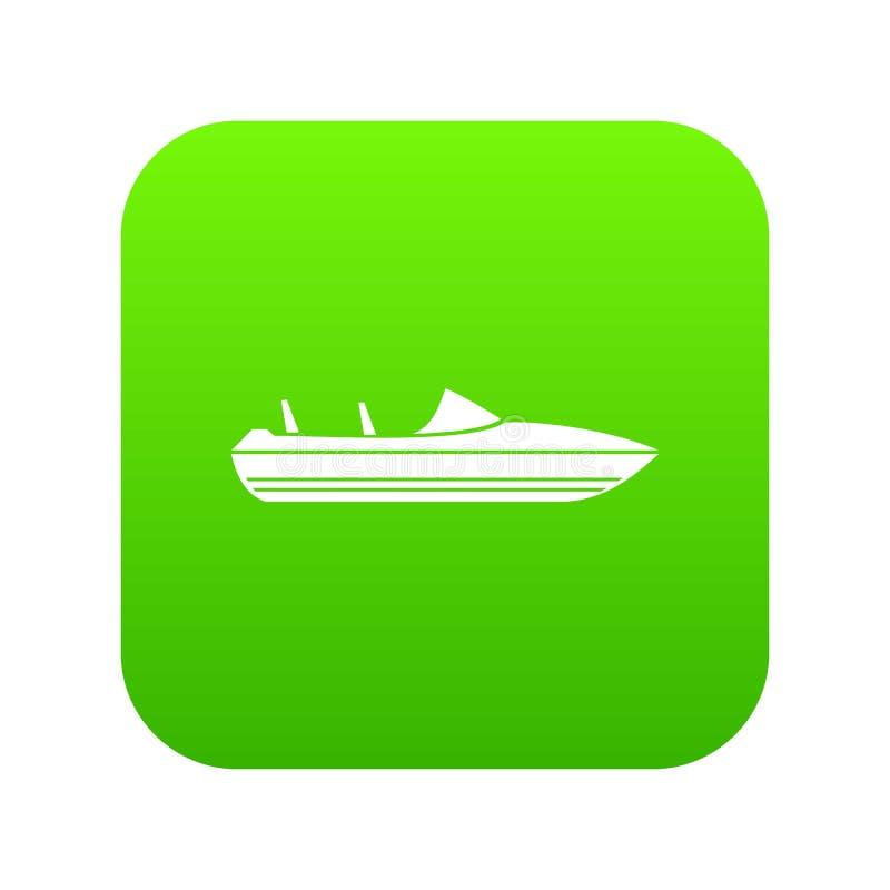 Меньший зеленый цвет значка powerboat цифровой иллюстрация вектора