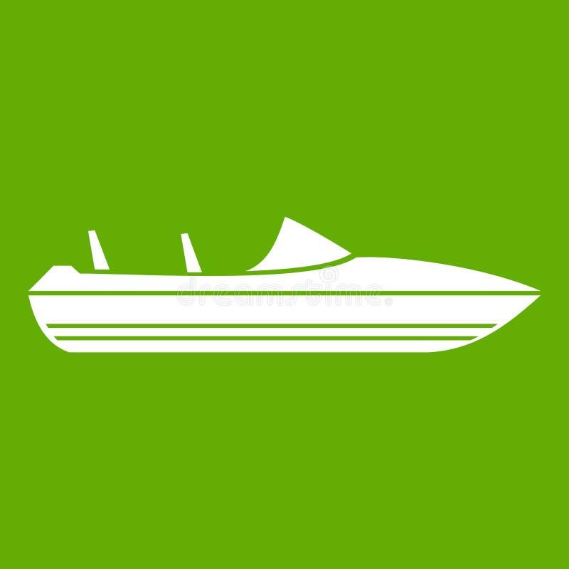 Меньший зеленый цвет значка powerboat иллюстрация вектора