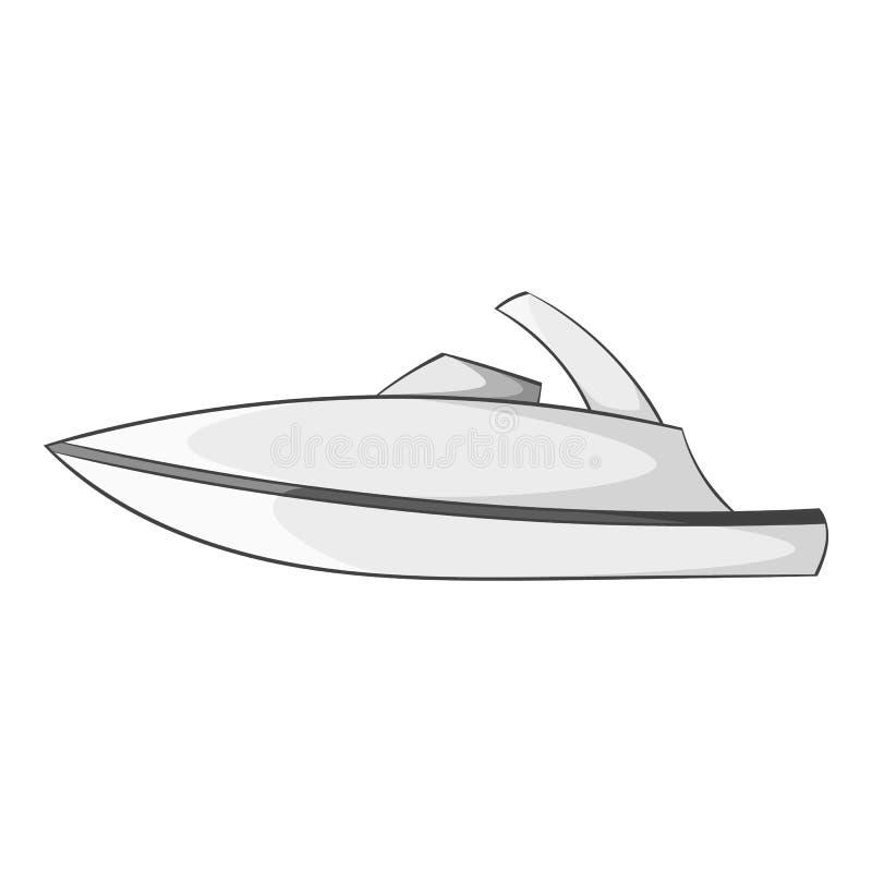 Меньший значок powerboat, серый monochrome стиль бесплатная иллюстрация