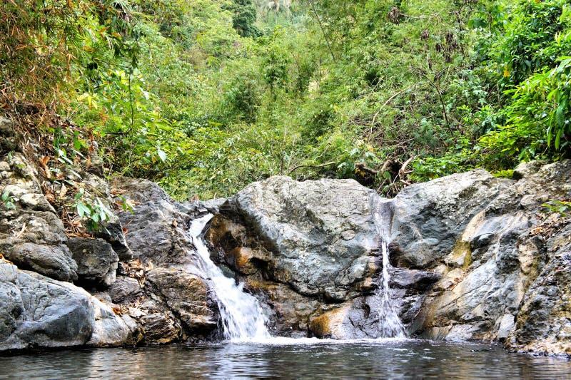 Меньший красивый водопад в острове джунглей Palawan стоковое фото rf
