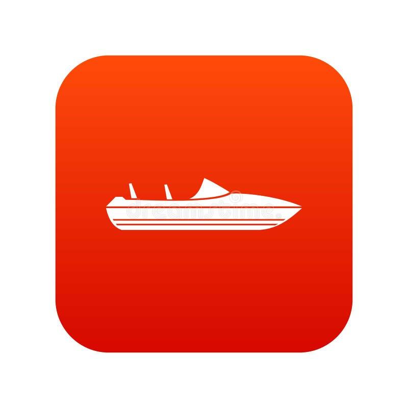 Меньший красный цвет значка powerboat цифровой бесплатная иллюстрация