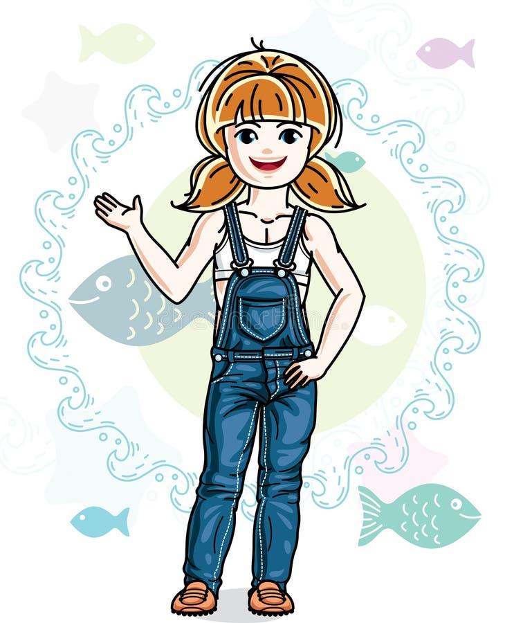 Меньший малыш ребенка девушки redhead милый в дежурном вскользь одежд иллюстрация вектора