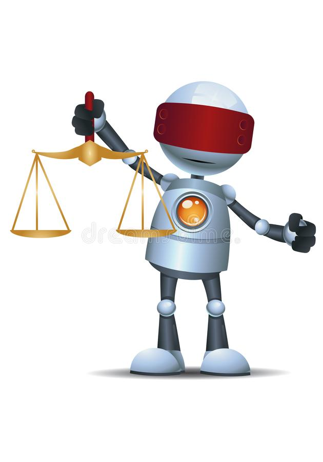 Меньший масштаб правосудия владением робота иллюстрация вектора