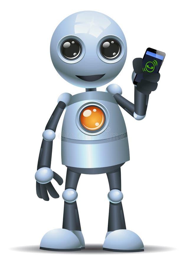 Меньший мобильный телефон владением робота для вызывать иллюстрация штока