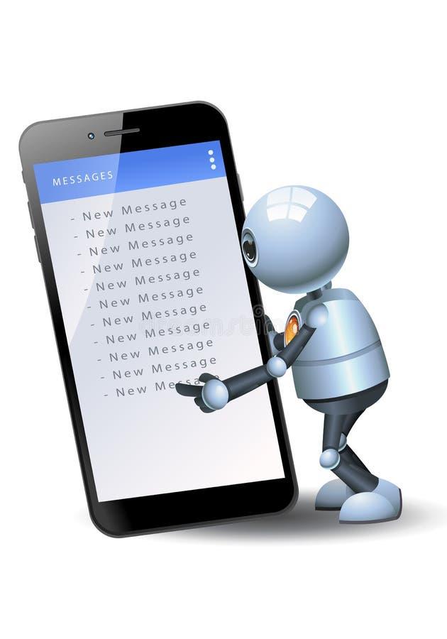Меньший мобильный телефон владением робота проверяя сообщения иллюстрация вектора