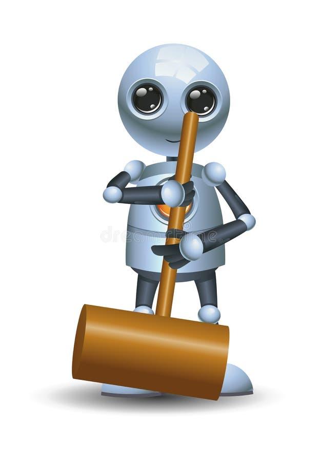 Меньший молоток владением робота на изолированной белой предпосылке бесплатная иллюстрация