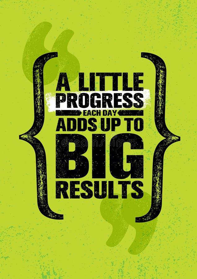 Меньший прогресс каждый день добавляет до большие результаты Воодушевляя творческий шаблон плаката цитаты мотивировки бесплатная иллюстрация