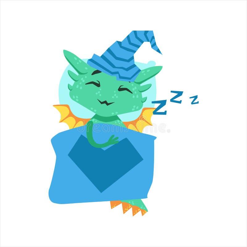 Меньший дракон младенца стиля аниме спать в кровати с иллюстрацией Emoji персонажа из мультфильма шляпы ночи бесплатная иллюстрация