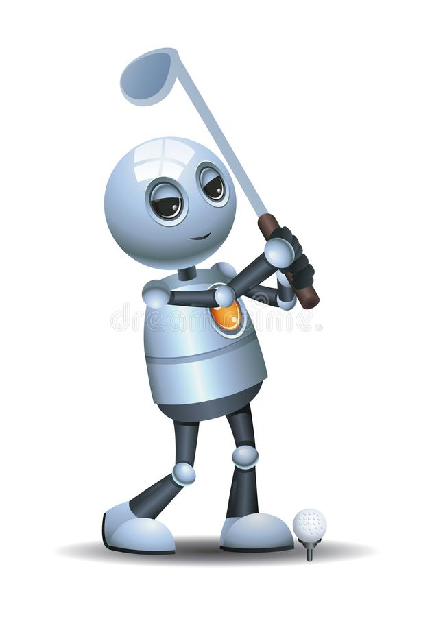 Меньший робот играя гольф на изолированной белой предпосылке бесплатная иллюстрация