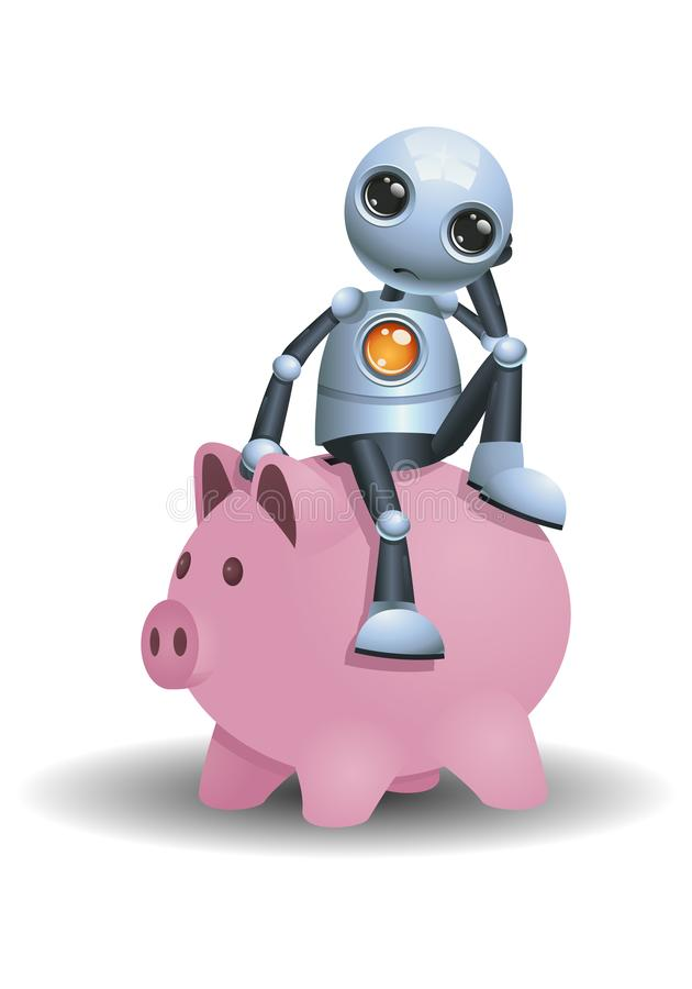 Меньший робот сидит на копилке бесплатная иллюстрация
