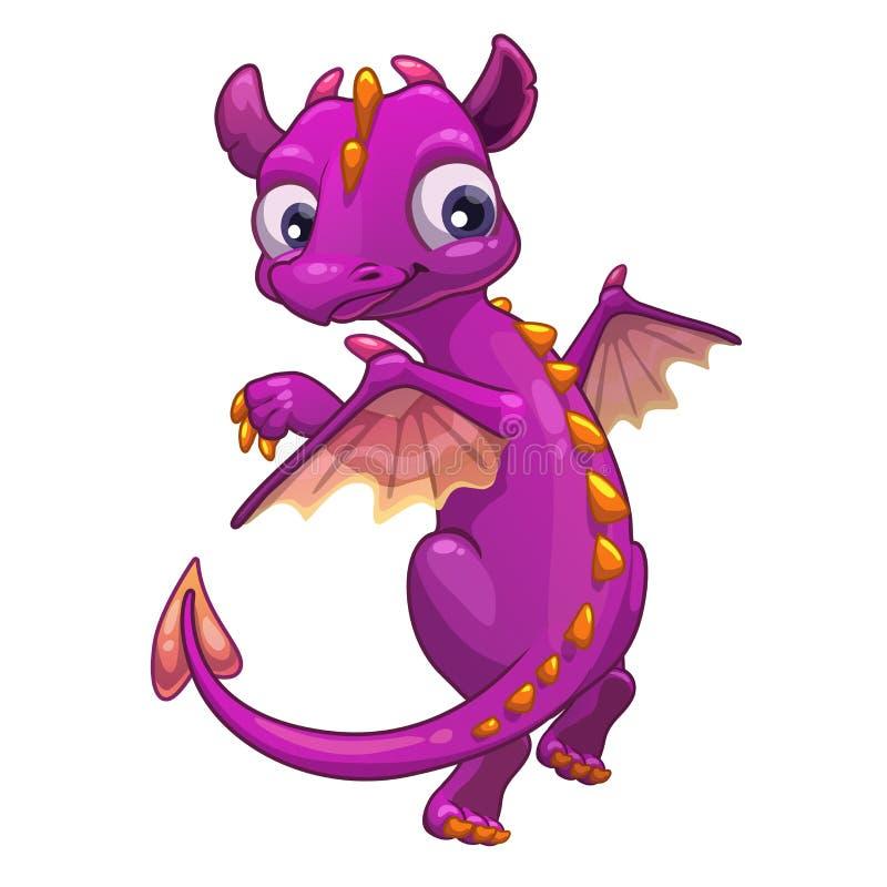 Меньший розовый дракон шаржа иллюстрация вектора