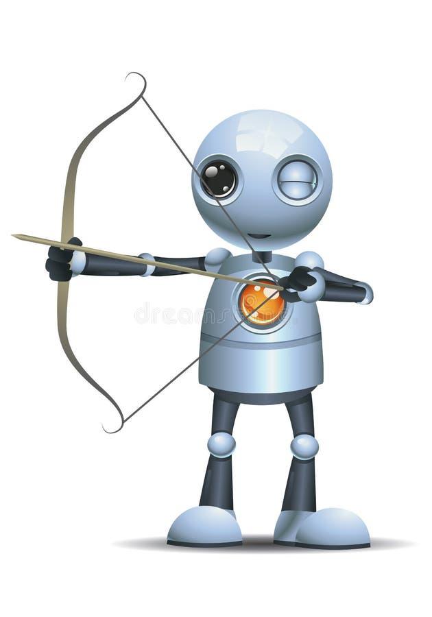 Меньший смычок лучника владением робота бесплатная иллюстрация