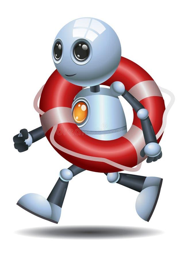 Меньший томбуй нося жизни робота иллюстрация вектора