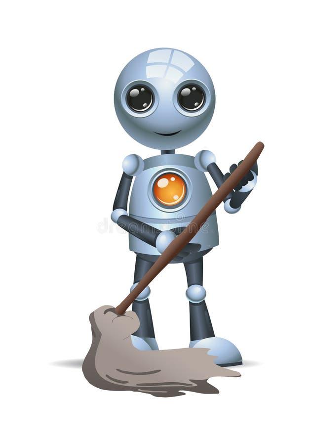 Меньший mop владением робота для того чтобы сделать чистку иллюстрация вектора
