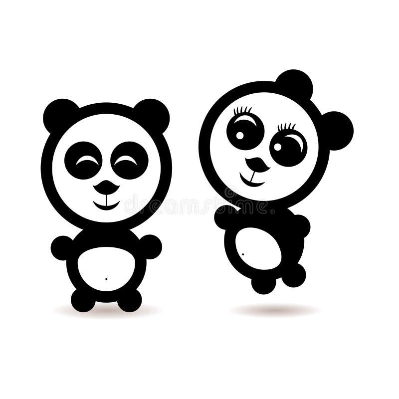 2 меньших любовника панды шаржа иллюстрация вектора