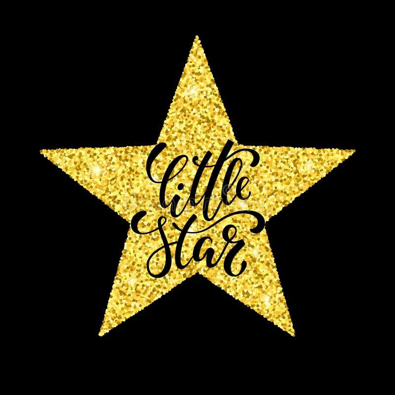 меньшяя звезда Вручите вычерченную творческую каллиграфию и почистьте литерность щеткой ручки бесплатная иллюстрация