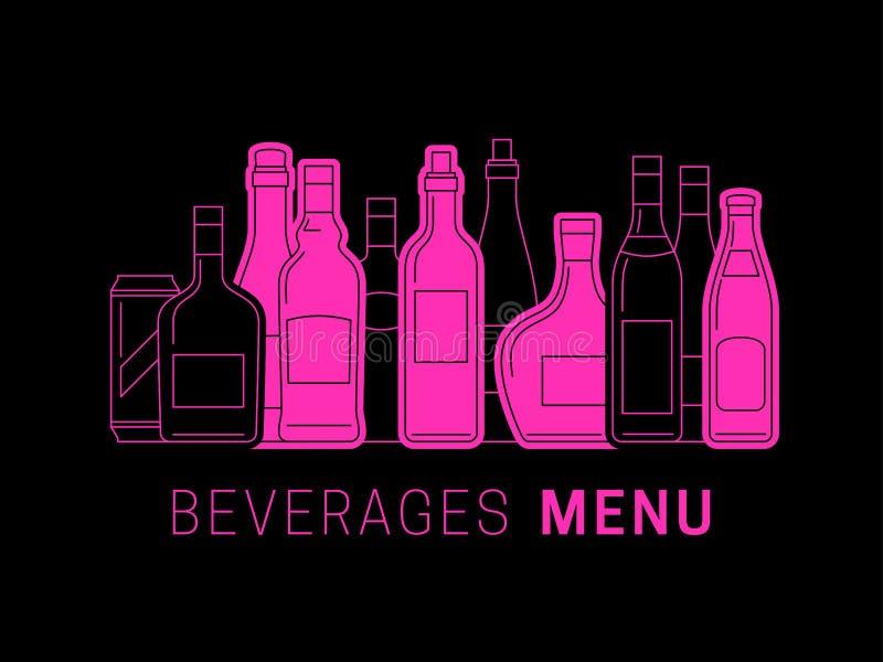 Меню алкоголя с бутылками иллюстрация вектора