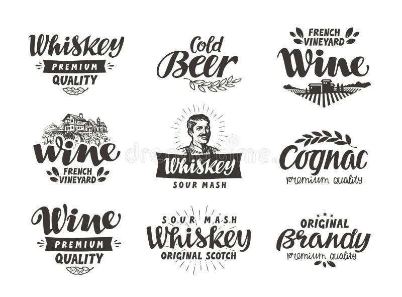 Меню, алкогольные напитки Вектор обозначает вино, пиво, виски, рябиновку, коньяк иллюстрация штока