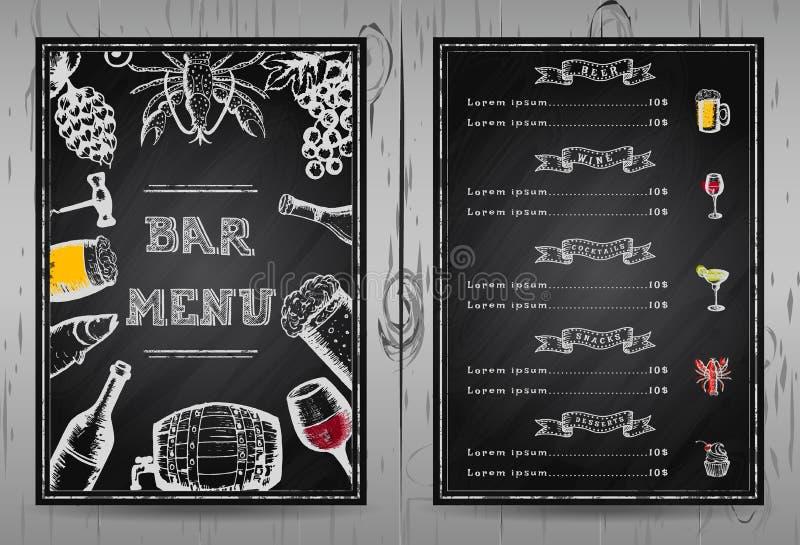 Меню бара дизайна, меню ресторана шаблона стоковые изображения rf