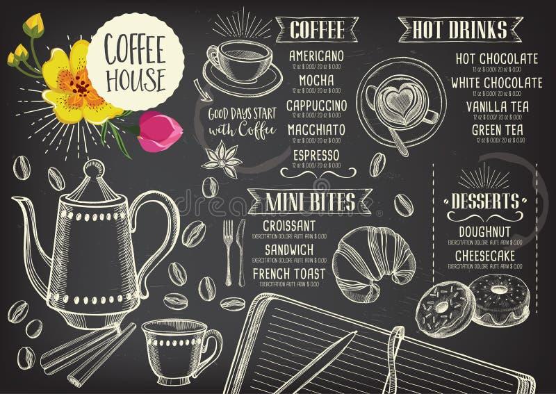 Меню кафа ресторана кофе, дизайн шаблона бесплатная иллюстрация