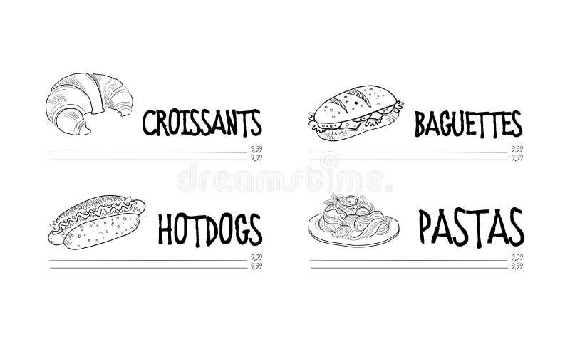 Меню кафа с круассаном, хот-догом, багетом, и плитой макаронных изделий Тема еды Нарисованный рукой дизайн вектора бесплатная иллюстрация