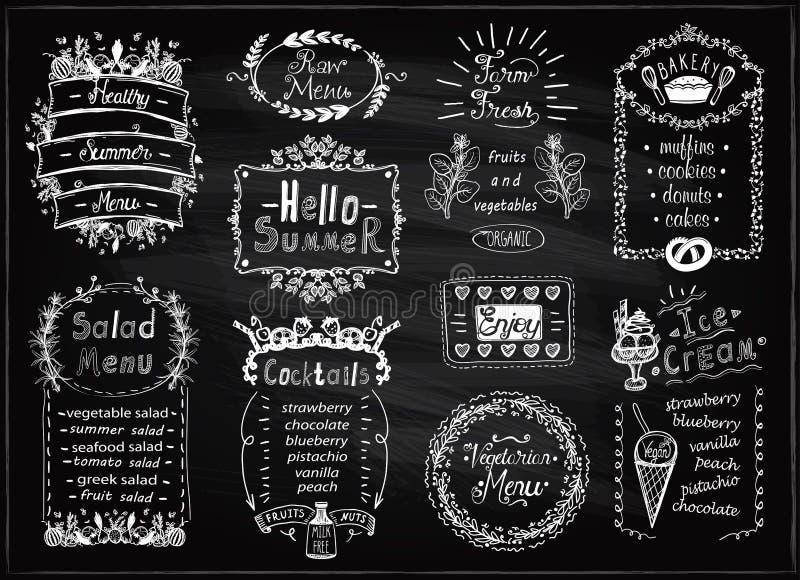Меню лета, ферма меню свежих, коктейлей, салатов, пекарни, сырцовых и вегетарианских Набор дизайнов классн классного списка меню  иллюстрация штока